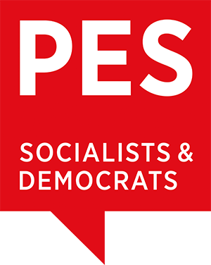 Logoen til Party of European Socialists. Rød firkantet snakkeboble med hvit tekst som lyder: PES - Socialists & democrats.